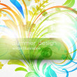 Floral summer design elements with sun shine — Stock Vector