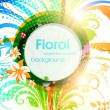 Royalty-Free Stock Vector Image: Abstract vector floral summer background with flowers, sun and ladybird.