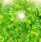 Resumen de verano brillante o verano vector fondo floral con flores, mariquita y sun shine — Vector de stock