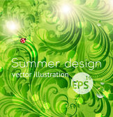 Abstract bright summer or summer vector floral background with flowers, ladybird and sun shine — Stock Vector