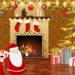 Christmas theme: Santa, gifts, balls, Xmas interior with fir-tree.  — 图库矢量图片