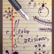 Royalty-Free Stock Imagem Vetorial: Vintage Christmas Card. Merry Christmas Hand Drawn lettering