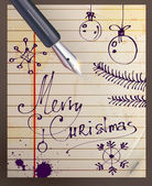 Vintage Christmas Card. Merry Christmas Hand Drawn lettering — Stock Vector