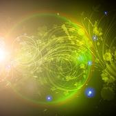 太陽の輝き、輝きの火花星とのシームレスな壁紙の背景. — ストックベクタ