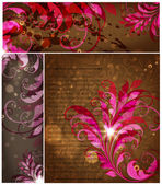 Pink Leaves. set — Stock Vector