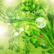 Abstract bright summer or summer vector floral background with flowers, ladybird and sun shine - Stok Vektr