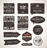 Vintage Styled Premium Quality and Satisfaction Guarantee Label collection with black grungy design, paper texture. — Stock Vector