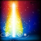 с рождеством и новым годом вектор с мячом, меха ветке дерева и звезд — Cтоковый вектор