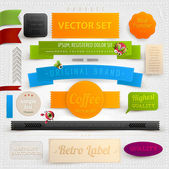 Set of retro ribbons, labels and beetles. Vector illustration. — Stock Vector
