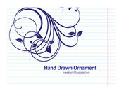 Hand-Drawn Back to School Illustration Design Elements on Lined Sketchbook Paper Background, Floral ornaments — ストックベクタ