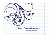 Handgetekende terug naar school illustratie ontwerpelementen op bekleed schetsboek papier achtergrond, floral ornamenten — Stockvector