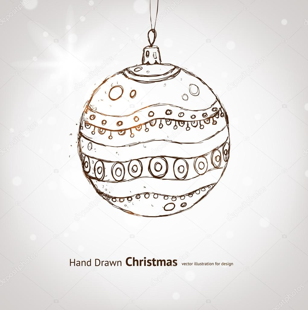 Christmas hand drawn fur tree for xmas design. With balls. — Stock Vector #20180555