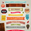 Set of vector retro ribbons, old dirty paper textures and vintage labels, banners and emblems. Elements for design. — Vecteur