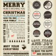 Christmas typography decoration collection  Set of calligraphic and typographic elements, frames, vintage labels and borders. Floral ornaments and old paper texture. All for holiday invitation design - Stok Vektr