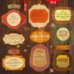 verzameling van vector retro linten, oude vuile papier structuren en vintage etiketten, banners en emblemen. elementen collectie voor ontwerp — Stockvector