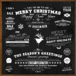 Set of Xmas and Happy New Year Labels with retro vintage styled design. Christmas decoration collection. Calligraphic and typographic elements, labels, signs. Deer head. Eps 10 vector illustration. — Stok Vektör