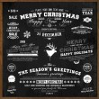 Set of Xmas and Happy New Year Labels with retro vintage styled design. Christmas decoration collection. Calligraphic and typographic elements, labels, signs. Deer head. Eps 10 vector illustration. — Vettoriale Stock