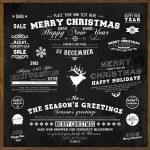 set xmas en gelukkig nieuw jaar etiketten met retro vintage stijl ontwerp. Kerstmis decoratie collectie. kalligrafische en typografische elementen, labels, tekenen. herten hoofd. EPS-10 vectorillustratie — Stockvector
