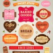 Set of retro bakery labels, ribbons and cards for vintage design, old paper textures — Stock Vector #22363285