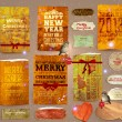 Royalty-Free Stock Vector Image: Set of vector Christmas ribbons, old dirty paper textures and vintage new year labels. Elements for Xmas design: birds with baubles, gingerbread, ribbon bows, candy cane, stars and glow snowflakes