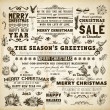 Christmas decoration collection Set of calligraphic and typographic elements, frames, vintage labels. Ribbons, bows, birds, baubles on a fur-tree branches with holly berries - all for Xmas design. — Stock Vector #22363401