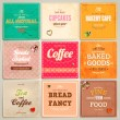 Set of retro bakery labels, ribbons and cards for vintage design, old paper textures — Vector de stock
