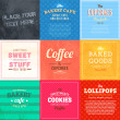 Set of retro bakery labels, ribbons and cards for vintage design, old paper textures — Stock Vector #22363499