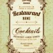 Restaurant label design with old floral frame for vintage menu design — Stock Vector