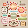 Set of retro bakery and coffee labels, ribbons and cards for vintage design, old paper textures — Vector de stock  #22363521