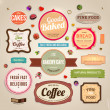 Set of retro bakery and coffee labels, ribbons and cards for vintage design, old paper textures — Stock Vector #22363521