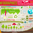 Set elements of ecological infographics for eco design with trees, grass, water, lamps and leafs — Stock Vector