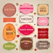 Set of retro bakery and coffee labels, ribbons and cards for vintage design, old paper textures — Stock Vector #22363643