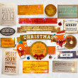 Set of vector Christmas ribbons, old dirty paper textures and vintage new year labels. Elements for Xmas design: balls, bow, snowflakes and funny Santa character — Cтоковый вектор