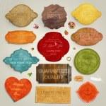 verzameling van vector retro linten, oude vuile papier structuren en vintage etiketten, banners en emblemen. elementen voor ontwerp — Stockvector