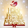 Happy New Year 2013 and Merry Christmas lettering for Xmas design, bird, snowflakes and red ribbon bow, eps10 vector illustration — Imagens vectoriais em stock
