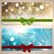 Xmas greeting cards with red and green bows and copy space. Golden and blue glow stars and snowflakes for Christmas design. Vector illustration — Vector de stock