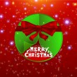 Abstract green Christmas ball cutted from paper on red background with Christmas tree formed from curled corner paper and red ribbon bow. Vector eps10 illustration - Stock Vector