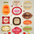 Set of retro bakery and coffee labels, ribbons and cards for vintage design, old paper textures — Stock Vector #22363887