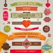 Set of vector retro ribbons, old dirty paper textures and vintage labels, banners and emblems. Hearts and Valentine's day label. Elements for design. — Image vectorielle