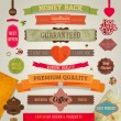 Set of vector retro ribbons, old dirty paper textures and vintage labels, banners and emblems. Hearts and Valentine's day label. Elements for design. — Stockvectorbeeld
