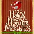 Royalty-Free Stock Vector Image: Happy New Year 2013 and Merry Christmas lettering for vintage Xmas design, bird, snowflake and green ribbon bow, retro grunge background, eps10 vector illustration