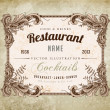 Stock Vector: Restaurant label design with old floral frame for vintage menu design