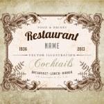 Restaurant label design with old floral frame for vintage menu design — Stock Vector #22364099