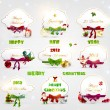 Set of beautiful Christmas cards with red gift bows with ribbons for Xmas design. With Santa, gifts, balls, mistletoe, sweet and bell. — Stock vektor