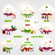 Set of beautiful Christmas cards with red gift bows with ribbons for Xmas design. With Santa, gifts, balls, mistletoe, sweet and bell. — Stock Vector #22364345