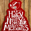 Happy New Year 2013 and Merry Christmas lettering for Xmas design, bird, snowflakes and green and red ribbon bows, wood background — Stock Vector