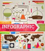 Set di infografica per la progettazione con elementi chimici e medici, telefoni, lampade e mondo e usa mappe — Vettoriale Stock