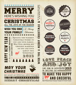Christmas typography decoration collection Set of calligraphic and typographic elements, frames, vintage labels and borders. Floral ornaments and old paper texture. All for holiday invitation design — Stock Vector