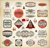 Christmas decoration collection Set of calligraphic and typographic elements, frames, vintage labels and borders. Floral ornaments and old paper texture, Santa with gifts and baubles for Xmas design — Cтоковый вектор