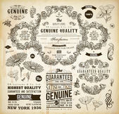 Vector set of calligraphic design elements: page decoration, Premium Quality and Satisfaction Guarantee Label, antique and baroque frames and floral ornaments — Stok Vektör
